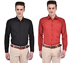 adfb5a82dd7 ANSH FASHION WEAR Multi Colored Set Of 2 Cotton Blend Formal Shirt