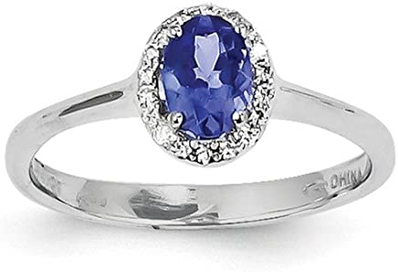 14k White Gold Blue Tanzanite Diamond Band Ring Size 7.00 Stone Gemstone Fine Jewelry Gifts For Women For Her