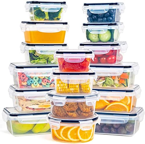 SKAJOWID Set di Contenitori Plastica, Contenitori Alimentari A Chiusura Ermetica (16 Pz), Catole Plastica con Coperchio Antigoccia, Senza Bpa