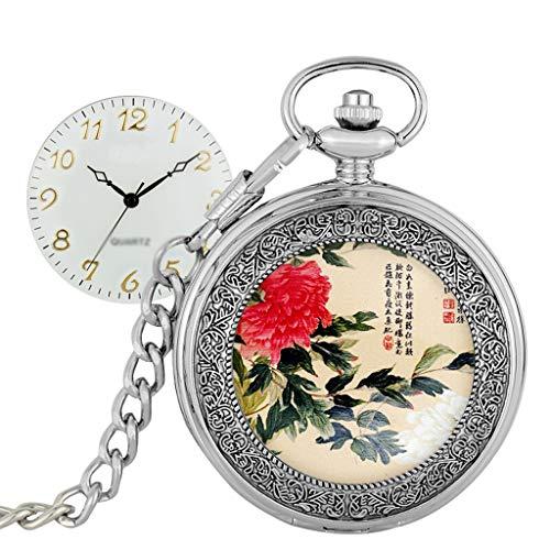 zlw-shop Reloj de Bolsillo Vintage Tirón de la Vendimia de Bolsillo Reloj de Bolsillo de los números árabes WatchQuartz Escala for Hombre del Reloj for Mujer con la Cadena graduación de c