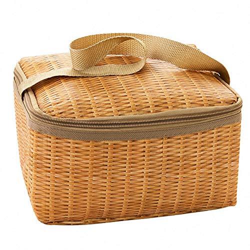 FIONAT Tragbare Wicker Rattan Picknick Tasche Wasserdicht Geschirr Isolierte Thermische Kühler Lebensmittel Container Warenkorb für Outdoor Camping 22 * 14 * 12cm