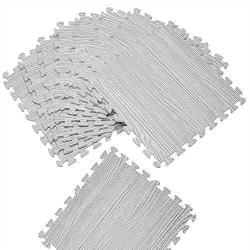 Deuba 8er Set Puzzlematte Holzoptik Grau Bodenschutzmatte 45x45cm Schutzmatte Fitnessmatte Schaumstoff Unterlegmatte