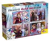 Lisciani Puzzle para niños, 4 puzles de 48 piezas 2 en 1, Doble Cara con reverso para colorear - Disney Frozen 2 La reina de las nieves 86603