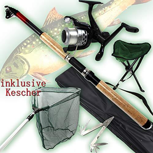 ANGELSET FORELLE mit KESCHER Rute + Rolle + Angel- Hocker + Angler- Werkzeug + Zubehör ü5ü 530