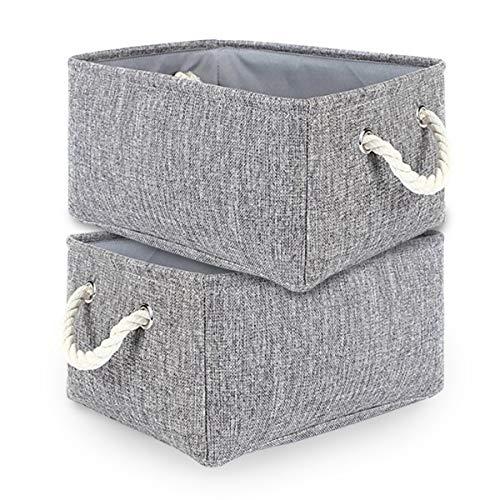 TheWarmHome 2 Pack Grey Fabric Storage Bins for Nursery Storage Canvas Storage Basket,15.7×11.8×8.3 inch