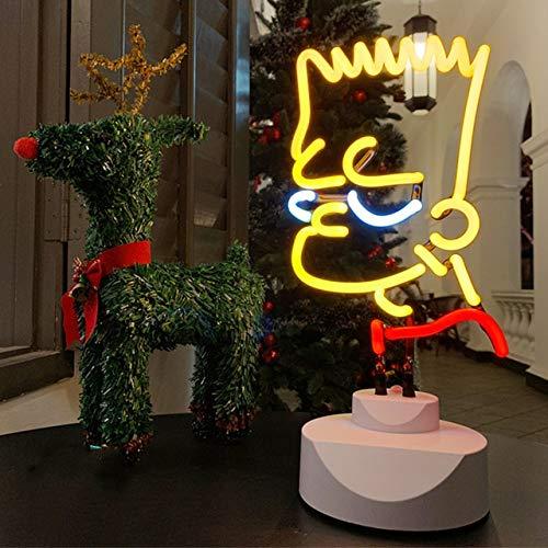 Lámpara de noche con diseño de dibujos animados, neón, regalo para dormitorio, decoración de cristal, lámpara de noche, luz nocturna EU Simpson