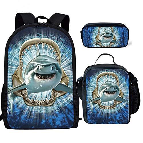 fhdc Rucksäcke 3D Shark Print Schultaschen Kinder Jungen 3 Teile/Satz Große Kapazität Rucksäcke Jungen Casual Schulter SoftbackSchultaschen Hx684Cgk