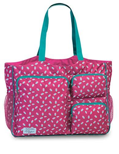 Fabrizio Strandtasche groß XXL viele Taschen Freizeittasche Urlaubstasche Sommer mit Reißverschluss (Rosa)