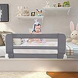 Leogreen - Barandilla de Seguridad para Cama de Bebés y Niños Pequeños, Barrera de Cama Plegable, 1,02 Metro(s), Gris, Material: Tela de nylon