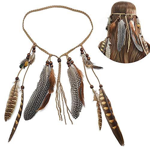 Jurxy Böhmische Pfau Feder Kopfschmuck Stirnband Damen Hippie Boho Indianer Stirnbänder Zigeuner Headwear Weben Frau Mädchen Lieblings Haarschmuck - Braun