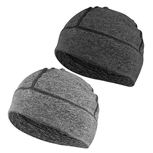 EINSKEY Mütze Herren Damen Baumwolle Skull Cap Winddicht Helm Unterziehmütze Kopfbedeckung für Fahrrad, Schlaf, Chemo (2-Pack)