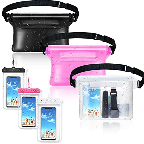 6 Pieces Waterproof Phone Bags Including 3 Waterproof Phone Pouch Universal Cellphone Case and 3 Waterproof Fanny Pack with Waist Strap Screen Touchable Dry Bag for Swimming Boating Fishing