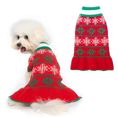 Dog Christmas Dresses for Puppies & Small Dogs, Xmas Snowflake Warm Dog Sweater Winter Clothes, Cute Dog Dress Shirt Skirt for Boys & Girls Holiday Party Daily Wearing