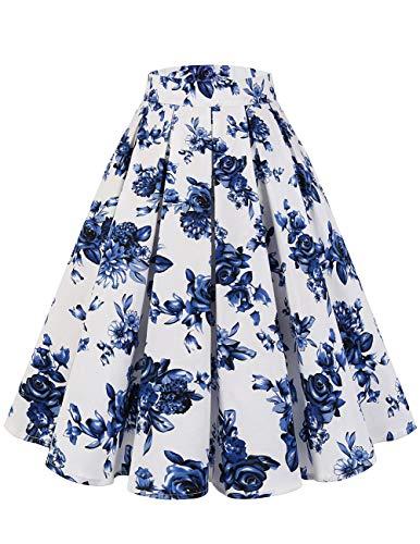 bridesmay Damen Rockabilly Rock A-Linie Vintage Retro Faltenrock Midi Swing Röcke mit Taschen White Blue Flower M