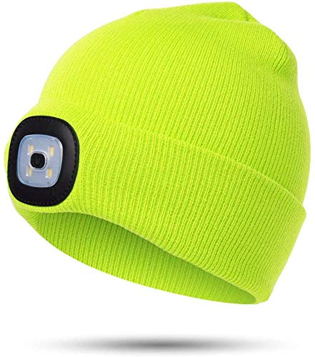 Beanie Hat with Light for Kids, Head Flashlight Winter Warmer Knit with LED Light for Boys Girls, USB Rechargeable Adjustable Brightness Headlamp Cap,Winter Gift for children