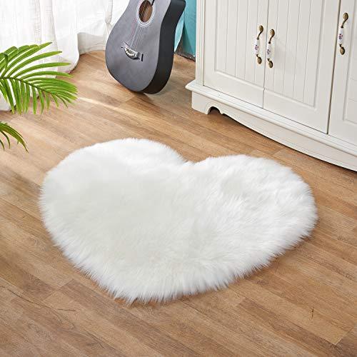 Lanqinglv - Alfombra de piel de oveja sintética para silla, sofá, cama, salón, dormitorio, habitación infantil, color blanco, 50 x 70 cm