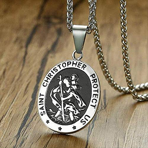 ZPPYMXGZ Co.,ltd Collar Facaiba Collar de Acero Inoxidable San Cristóbal Colgante Vintage Titanio Acero Griego Jesús Amuleto Colgante Collar de Hombre