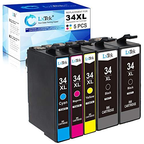 LxTek 34XL Ersatz Kompatibel für Epson 34XL 34 XL Druckerpatronen für Epson Workforce Pro WF-3720DWF WF-3725DWF WF-3720 WF-3725 (2 Schwarz 1 Cyan 1 Magenta 1 Gelb)