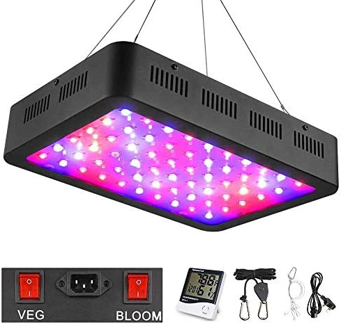 WAKYME 600W LED Plant Grow Light, Adjustable Full Spectrum Double Switch Plant Light with Thermometer Humidity Monitor & Powerful Heat Dissipation System for Indoor Plants Veg and Flower