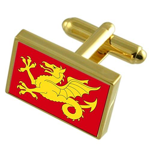 Select Gifts Wessex Grafschaft England Gold Manschettenknöpfe graviert Box