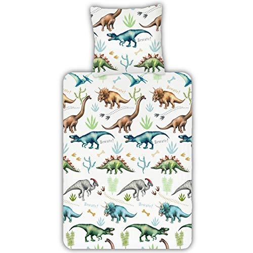 ESPiCO Bettwäsche Trendy Bedding Dinos Dinosaurier Dino Saurier Knochen Schnabel Flügel Tiermotiv Reptilien Renforcé, Größe:135 cm x 200 cm