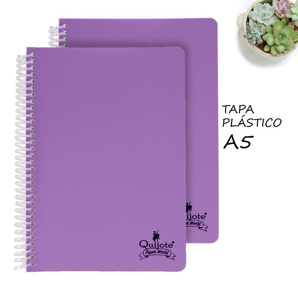 Quijote Paper World Pack 2 Cuadernos Espiral, Hojas Lisas, Tapa Plástico, 80 Hojas, 90 gramos, A5 para Uso Escolar, Oficina, Trabajo, etc. Morado: Amazon.es: Oficina y papelería