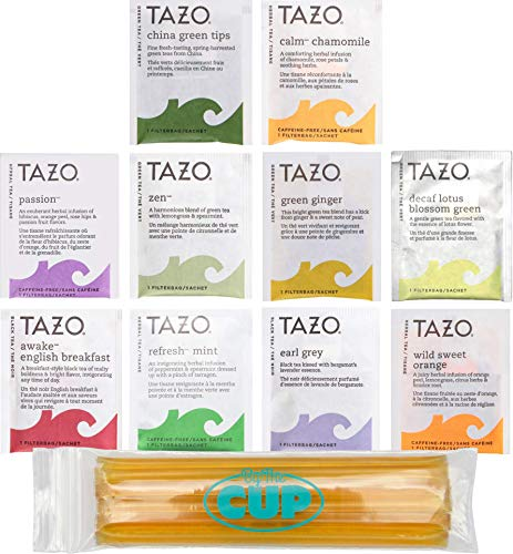 Tazo Tea Bags Sampler 40 Count Variety Gift Box, 10 Different Flavors with By The Cup Honey Sticks