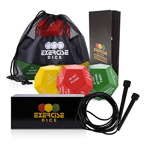 Exercise Dice – Set with 3 Fitness Dice with Jump Rope, Mesh Bag and Extensive Exercise Booklet – Large Workout Dice for HIIT, Cardio, Home Training – Full Body Workout Equipment – Fun and Efficient