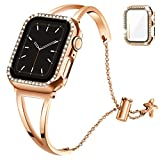 Recoppa Compatible with Apple Watch Band 38mm Series 3 2 1, Jewelry Bracelet Bangle Wristband and Bling Case with Tempered Glass Screen Protector for iWatch(Rose gold, 38mm)