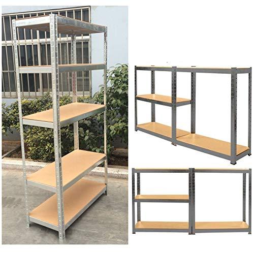 Regal mit 5 Etagen, Stahl und MDF, schraubenlose Regalböden, 875 kg Gesamtkapazität / 175 kg pro Regal, 180 cm x 90 cm x 40 cm, verzinkt.
