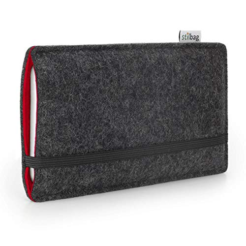 stilbag Handyhülle Finn für Apple iPhone Xr   Farbe: anthrazit/rot   Smartphone-Tasche aus Filz   Handy Schutzhülle   Handytasche Made in Germany