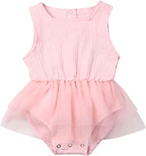 Infant Toddler Baby Girl Romper Tutu Dress Sleeveless Solid Jumpsuit Bodysuit Overalls Summer Outfits Clothes 6M-3T