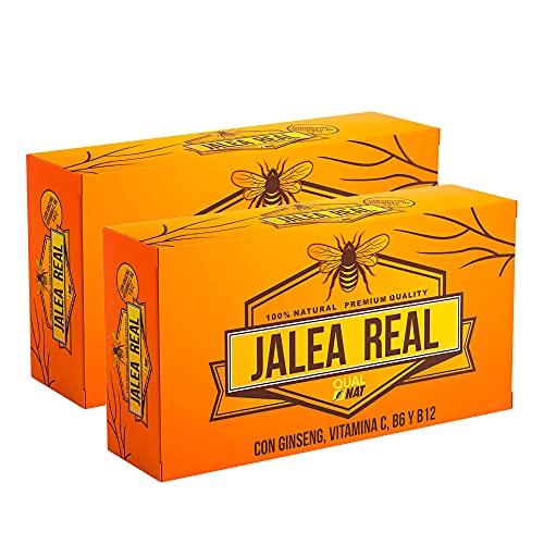 Jalea Real con Ginseng y Vitamina C40 Ampollas   Vitaminas para el cansancio  Refuerza el organismo  Vitamina B6 y B12  Ayuda a reforzar el sistema inmunitario  QUALNAT