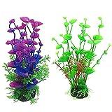 Abnaok Plantas decorativas para acuario, 2 unidades, plantas de plástico para acuarios, plantas acuáticas artificiales para acuario, peces, decoración ornamental, verde y lila