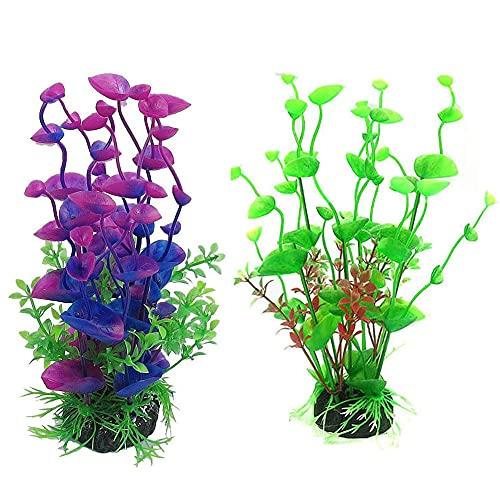 Abnaok Aquarium Pflanzen Deko, 2Pcs Plastikpflanzen für Aquarien, Künstliche Wasserpflanzen für Aquarium Fisch Tank Deko Ornament, Grün und Lila