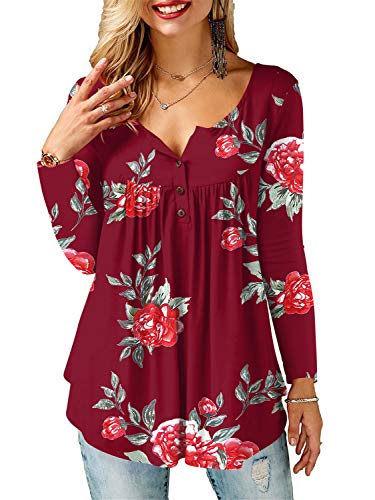 AMORETU Tunika Damen Blumen T-Shirt V Ausschnitt Knopfleiste Bluse Oberteil,1-weinrot,38(S)