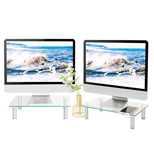 5Rcom Computer Dual Monitor Stand Clear Tempered Glass Laptop Riser Multi Desktop Stand with Height Adjustable Legs for Flat Screen LCD LED TV Laptop Component-2 Pack