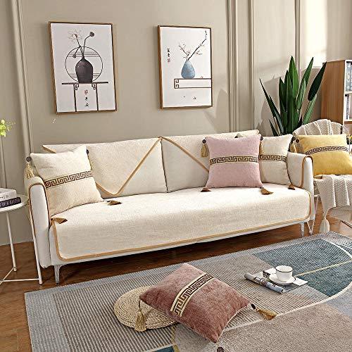 YUTJK Estera de sofá Moderna China,Funda De Sofá para Mascotas Perro,Composable Antideslizante Resistente Anti-Suciedad Sofá Cubierta,para otoño,Blanco