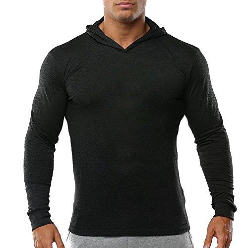 palglg Men's Bodybuilding Tapered Slim Fit Sweatshirts V Neck Active Hoodies Black XL