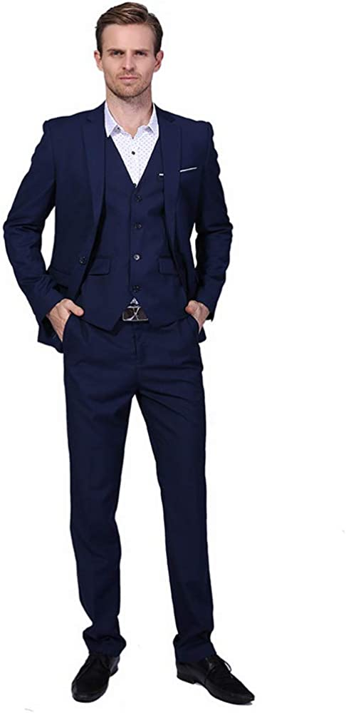 HOTK Men's Suits Solid Virginia Beach Mall 3-Piece Popular product Fit Slim Business Notch Lap