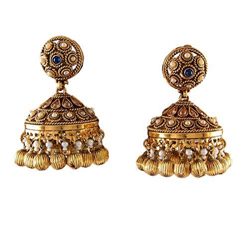 JewelryGift Stylish Dome-Shaped Jhumkas Gold Plated Blue Sapphire-CZ, Moti Fancy Fashion Jewellery for Girls and Women MPE 8-BLUE