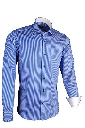 Giorgio Capone Herrenhemd, 100{8b024319162f9c2bd51a5854b4ec615d3002a30b9ca70137e1b41b304ccccad6} Baumwolle, blau-weiß gestreift, besonderer Kent-Kragen, Langarm, Slim & Regular Fit (XXL Slim)