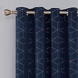 Deconovo Lot de 2 Rideaux Occultants Bleu Marine Isolant Thermique Rideaux a Oeillets Motif de Lossange Imprimés Argents pour...