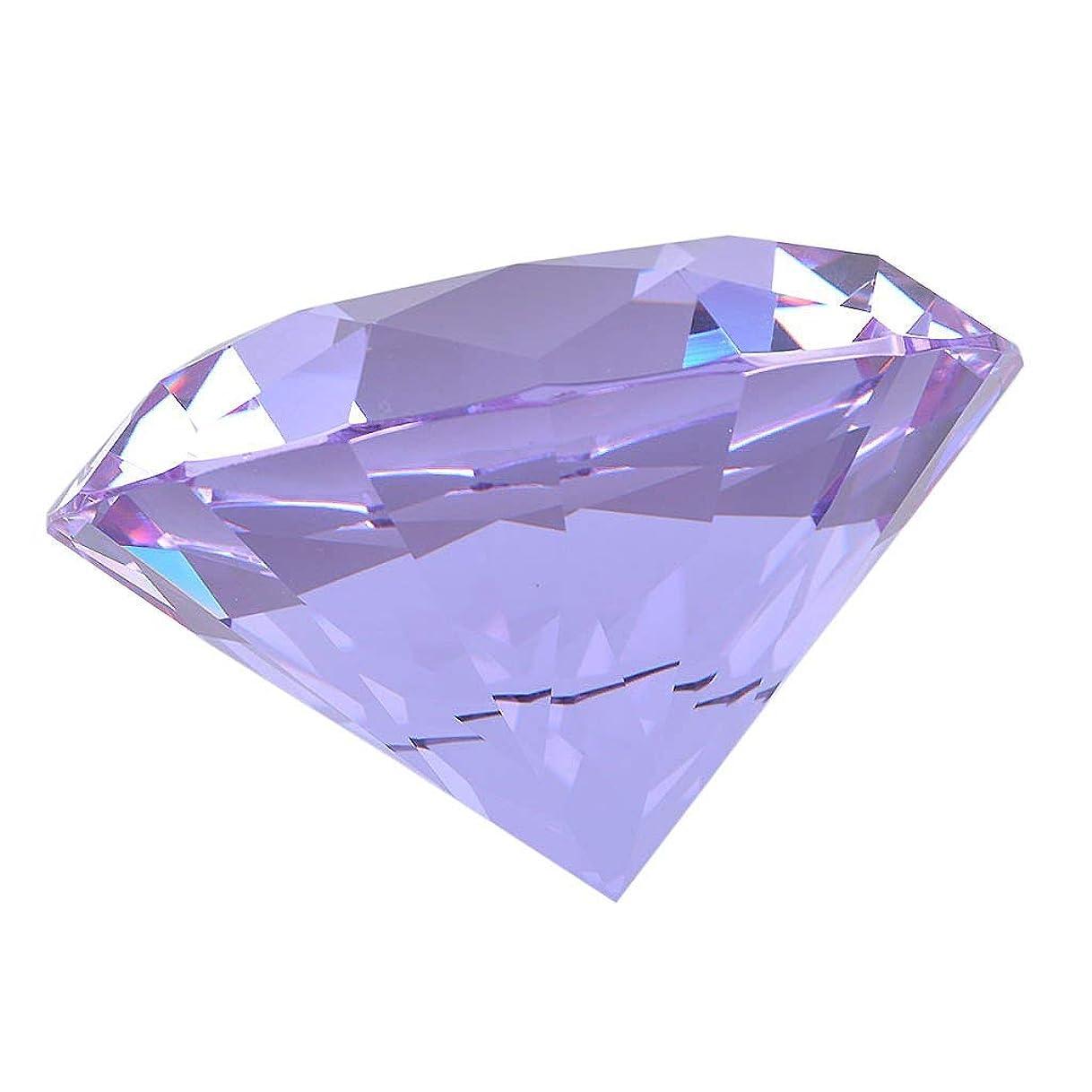 九時四十五分聖職者出撃者多色透明 水晶 ダイヤモンド 風水クリスタル ペーパーウェイト ガラス 文鎮 装飾品 工芸品 プレゼント 飾り 置物 (30mm,パープル)