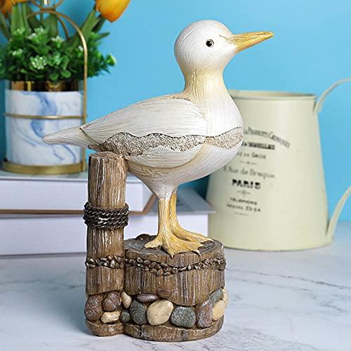 ZXZMONG Adornos de tocón de Aves Marinas imitación de Madera Animal decoración del hogar Sala de Estar jardín Adornos de Resina de Gaviota