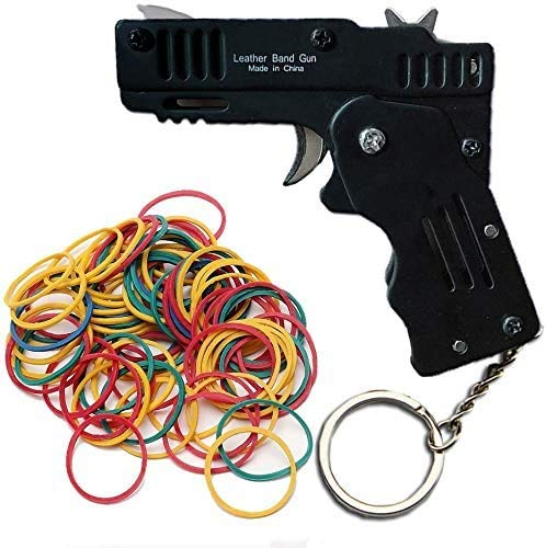 Facaing Rubber Band Gun Toy Easy Load Foldable Handmade Toy Gun Mini Metal Rubber Gun with Keychain and 120 Elastic Rubber Bands Black