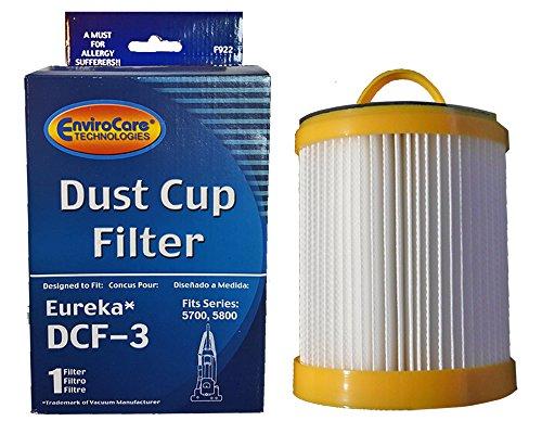 (1) Eureka Series 5700 5800 Pleated Dust Cup Lite Speed Type DCF 3 Hepa Bagless Upright Vacuum, Litespeed Whirlwind, Sanitaire, 922 62136, 61830A, 61825
