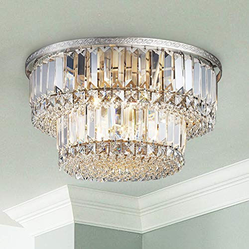 Saint Mossi K9 Crystal Chandelier with 5 Lights and 2-Tier,Modern Flush Mount Ceiling Light Fixtures Modern Chandelier for Bedroom,Dining Room,Livingroom,H9' x D16'
