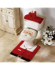 SmashingDealsDirect Christmas Decoration Novelty 3pc Christmas Festive Toilet Seat Cover, Tank & Rug Bathroom Decoration Set (Santa Claus)