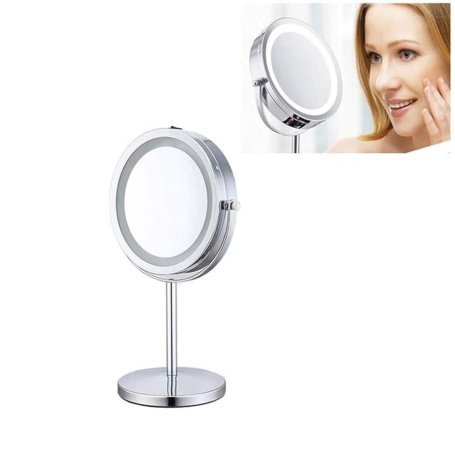 あいまいな毎月学んだ7 '化粧鏡360°回転10倍拡大鏡ライト付きライトデスク自立型、スライバー両面